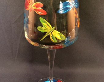 Hand Painted Crystal Wine Glass - Dragonflies