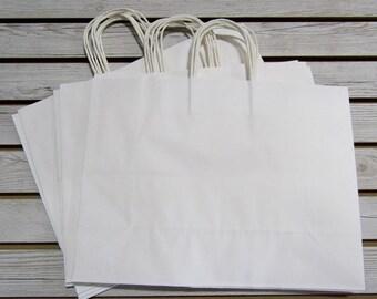 """16"""" X 6"""" X 12"""" White Paper Bags - 20 Pcs"""