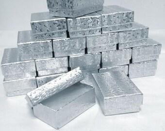 Silver Foil Boxes - 20 count (3.25 x 2.25 x 1) Cotton Filled Boxes