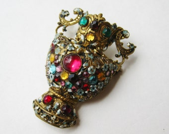 Vintage 40s Czech Jeweled Enamel Figural Urn Gold Brooch Pin