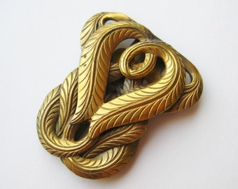 Vintage 20s Art Deco Czech Brass Dress Fur Scarf Clip