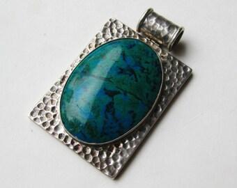 Large Vintage 950 Hammered Sterling Silver King Soloman Eilat Stone Cabochon Necklace Pendant