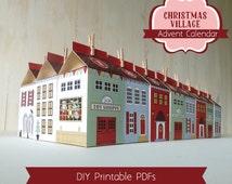 Advent Calendar Boxes, Printable Christmas Village, Countdown to Christmas, DIY Advent Calendar