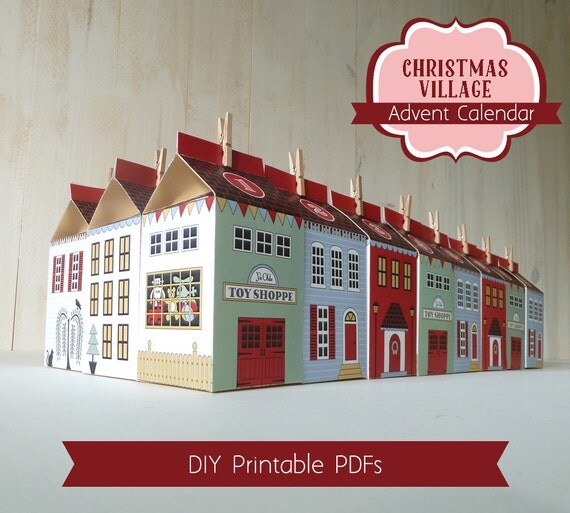 Advent Calendar Diy Template : Advent calendar boxes printable christmas village countdown