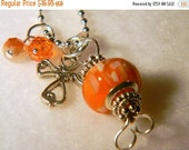 ON SALE Ball Chain Necklace with Orange Wire Wrapped Pendant
