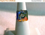 ON SALE Sterling Silver Swarovski Iridescent Square Ring