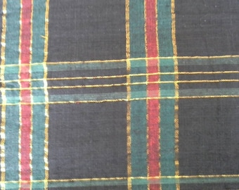 Christmas Plaid Cotton Fabric 2 1/2 Yards X0421 Red, Green, Black and Metallic Gold