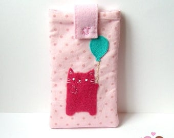 Pink cat holding a balloon smartphone pouch, iphone case, android phone sleeve green Mobile phone pouch pink polka dots