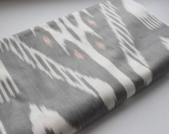 Uzbek grey-white color cotton ikat fabric