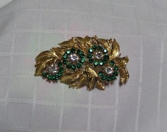 Vintage green rhinestone petals flowers gold tone vine brooch