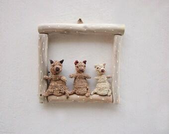 Bears in frame, kids room decoration, wall art
