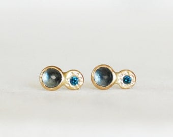 London Topaz Diamond Post Earrings - Double Pebble Post Earrings - Choose Gold with Silver Posts OR Choose ALL Gold