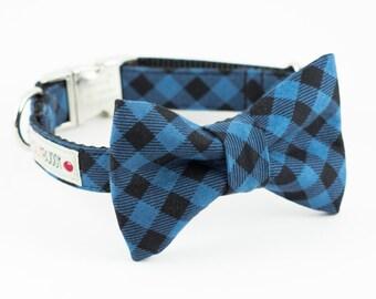 Blue Buffalo Plaid Dog Bowtie Collar