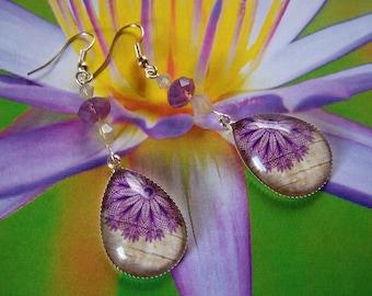 Earrings Tear Drop Dangles with Swarovski Crystals Mandala Flower Design