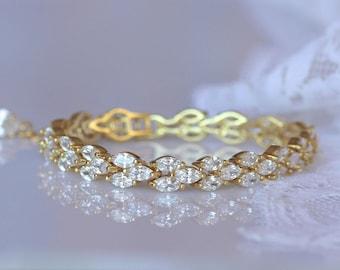 GOLD Crystal Bracelet, Gold Bridal Bracelet, Gold Bracelet, Gold Wedding Bracelet, FELICITY G