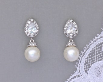 Pearl Drop Bridal Earrings, Ivory Pearl Earrings, Swarovski Pearl and Crystal Wedding Earrings, SISSY2