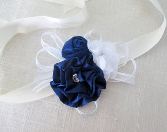 Navy wrist  corsage,  corsage pin, Mother of the bride, Mother of the groom, Grandmother fabric corsage pin