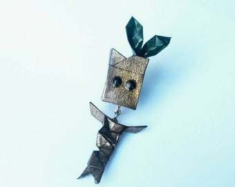 miniature origami baby groot 2 part pin