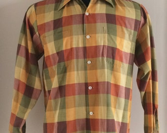 Brent 60's Plaid Long Sleeve Shirt