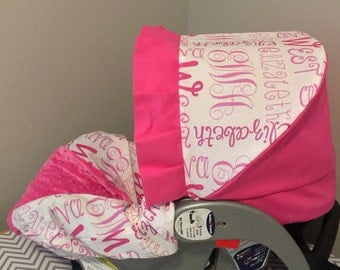 your Baby's Name Printed Fabric & Minky Dots  Infant Car Seat Cover and Visor