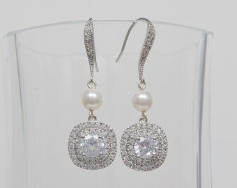 Bridal Cubic Zirconia Earrings, Swarovski Pearls, Square Pendants, Silver, Rose Gold, Yellow Gold, Sandra - Ships in 1-3 Business Days