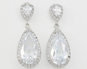 Bridal Jewelry, Teardrop Earrings, Cubic Zirconia Crystals, Silver Tone, Betty - Ships in 1-3 Business Days