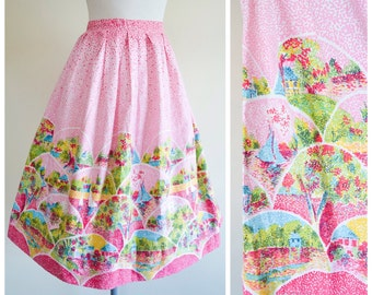 1950s Pink novelty border print pleated cotton skirt / 50s impressionist printed townscap full day skirt - XL