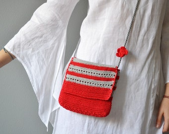Crochet small bag, crossbody cotton bag, shoulder purse, summer bag