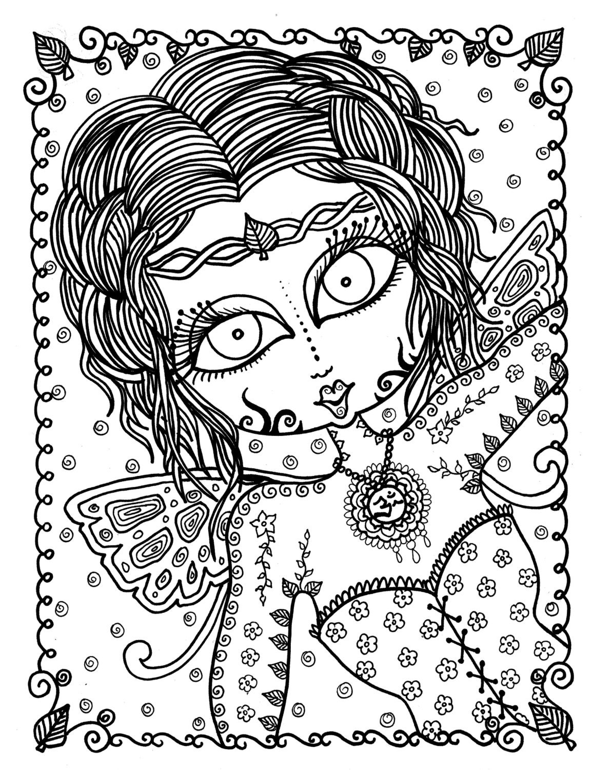 adult coloring pages download | Zen Fairy Adult coloring page Instant Download Fairies to