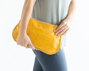 Summer SALE, Yellow Leather Clutch, Yellow Leather Crossbody Bag, women leather purse, yellow purse, clutch purse, leather wristlet, leather
