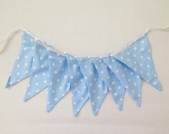 Boy room decoration , fabric garland , blue fabric banner