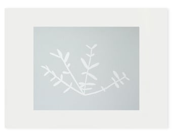 small original blue and white silkscreen print by Emma Lawrenson, modern home, minimal home, simple botanical.