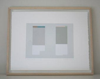 Architecture, abstract geometric, colourblock original handmade screenprint in muted colours by Emma Lawrenson