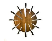 Sarkala - Wine Barrel Head Magnetic Knife Rack // Hanging knife rack // Oak Wood Knife Storage // Wall Decor