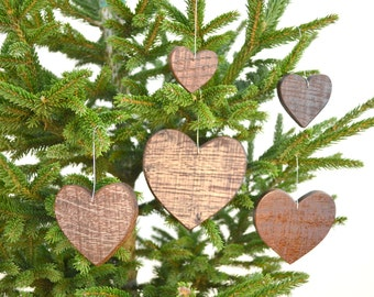 """HOLIDAY - """"Wood Hearts"""" ornaments made from Napa Valley Wine Barrels - Box of Love - 100% natural and recycled"""