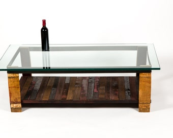 NAPA - Tafeltop - Wine Tank Wood and Barrel Stave Coffee Table