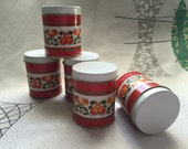 Set 5 tins red made in brazil