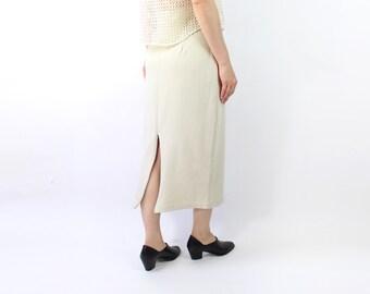 VINTAGE 1980s Pencil Skirt Beige Long High Waist Zipper Slit
