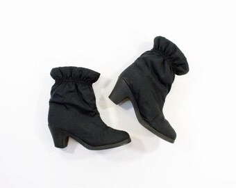 VINTAGE Black Ankle Boots 1980s Puffy Heels Size 7
