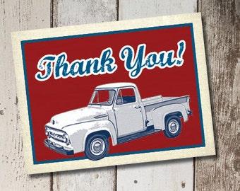 DIY Printable Vintage Truck Thank You Cards INSTANT DOWNLOAD