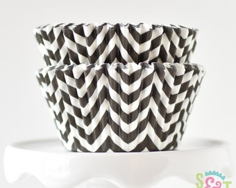 Chevron Black BakeBright GREASEPROOF Baking Cups Cupcake Liners | ~30