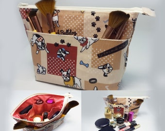 Makeup Bag With Built-In Organizer & Waterproof Inside Out - French Bulldog