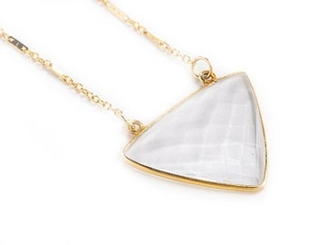 Gold Triangle Necklace-triangle necklace, dainty gold, layering necklace, triangle, natural stone, crystal necklace