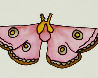 Roseate Emperor moth window cling, sun catcher, faux stained glass