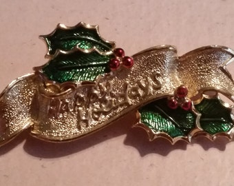 Vintage Gold Tone Metal Happy Holidays Christmas Pin or Brooch Politically Correct