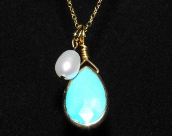 TURQUOISE And Pearl Statement Necklace Bright Blue Teardrop Pendant And White Freshwater Pearl Charm Gold Chain Necklace Birthstone Jewelry