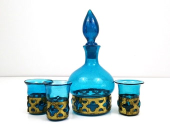 Teal Caged Glass Decanter Set / Turquoise blue glass Hand blown into brass / Mid Century Art Glass