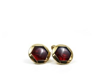 Gold & Red Vintage Cufflinks / Swank Cuff Links / Mens Designer Cufflinks