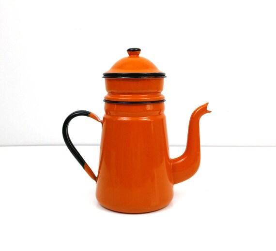 Enamel Coffee Pot Enamel Teapot Orange Two Tier Drip Pot