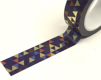 Navy Blue Geometric Triangles Gold Foil Washi Tape Roll 15mm x 10meters WT917